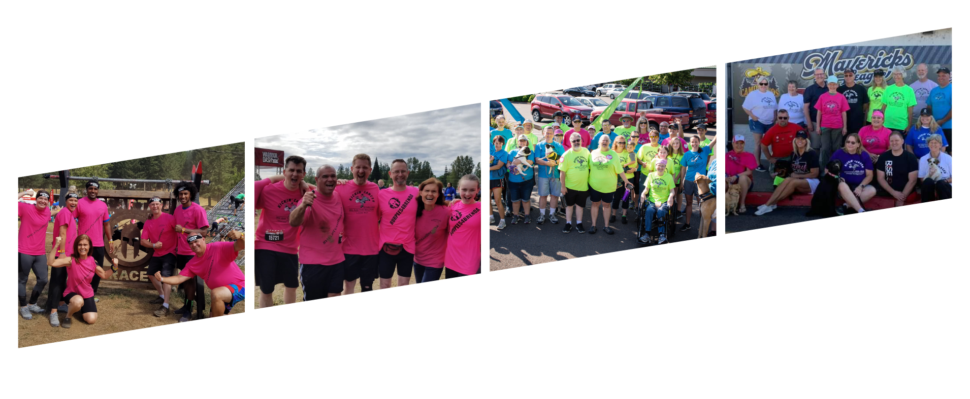 growth of the movement four images slanted upward showing people at the spartan, warrior dash, and lovin' runs over the past few years