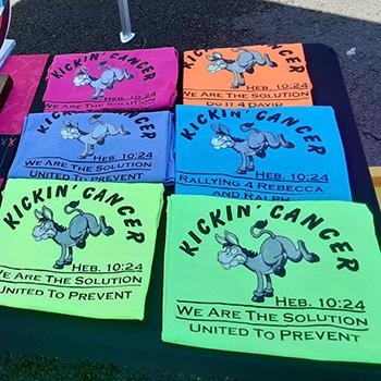 Kickin Cancer T-Shirts at Odd Moes fundraiser